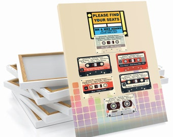 Retro Record Audio Cassette - Band Wedding Table / Seating Plan Large Print OR Canvas A1 A2 A3