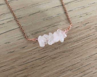 Rose Quartz Bar Necklace - Rose Gold Rose Quartz Necklace - Rose Gold Crystal Necklace - Crystal Necklace - Crystal Chocker Necklace