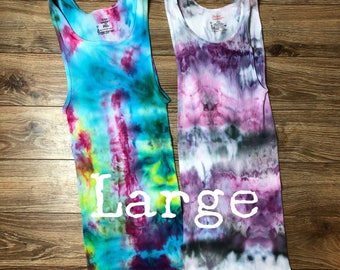 Adult mens womens large cotton ribbed undershirt tank top ice dyed tie L lot