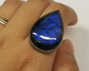 Large Labradorite Sterling Ring Size 8.5, Ready to Ship