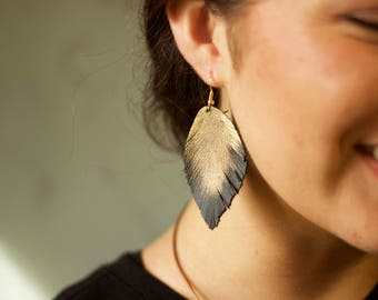 Gold Feather Genuine Leather Earrings Hand Painted