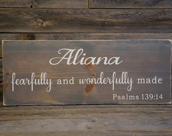 Proverbs 139:14 sign, Fearfully and wonderfully made, Nursery decor, Nursery sign, Fearfully wonderfully made wood sign, baby shower gift