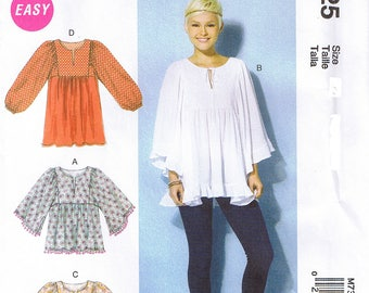 Easy To Sew Gathered Tops Tunic Ruffle Sleeve Slits or Elasticized Sleeves McCalls 7325 Sewing Pattern Size XS S M 4 6 8 10 12 14