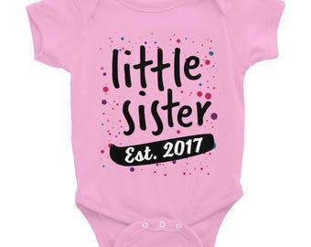 Little Sister Est. 2017 Confetti Cute Baby one-piece Infant Bodysuit