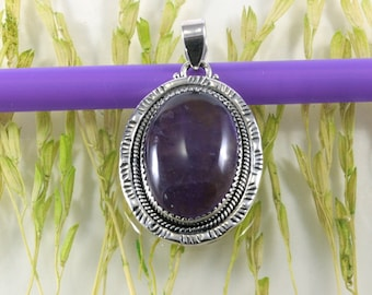 Amethyst and 925 sterling silver, pendant - 1323