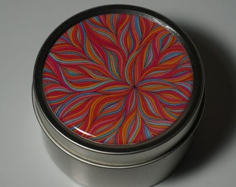 Round Storage Tin Trinket Box Gift Tin Keepsake Box Gift Box Jewellery Box Bits and Bobs Tin Patterned Orange Pink