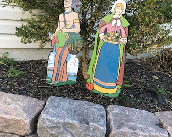 Super Cute 1970's Wooden Thanksgiving Pilgrim Woman and Indian Man Yard Art