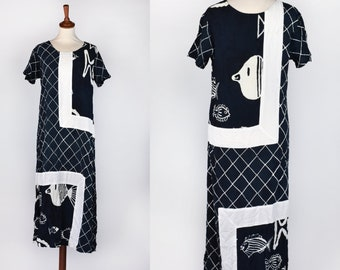 Black and White Fish Print Rayon Dress
