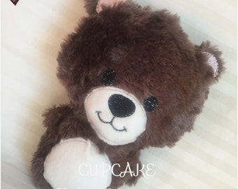 Handmade Little Teddy Bear Rattle and Squeaker - Dark Brown - Cuddle, Stuffie, Softie, Plush, Chubby, Chunky - Perfect for Babies