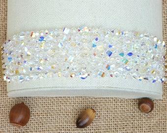 Stunning Aurora Borealis Swarovski Crystals - 230 Various Shapes and Sizes - Seven Strand Gold Vermeil Filigree Slide Bar Clasp Bracelet
