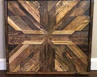 Barn Wood Mosaic   Reclaimed Wood Art   Rustic Home Decor   Barn Wood Quilt    Wood Wall Art   Custom Wood Art