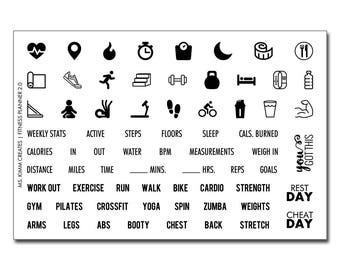 "Ms. Kimm Creates FITNESS PLANNER 2.0 4""X6 Photopolymer Clear Stamp Set - Journal, Planner, WorkOut, Exercise, FitBit"