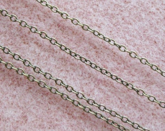 Antique Brass Plated Cross Chain Soldered Link Nickel and Lead Free 2mm x 1.5mm 373