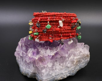 """OOAK  handmade """" Bracelet with corals, and multicolored stones in relief"""""""