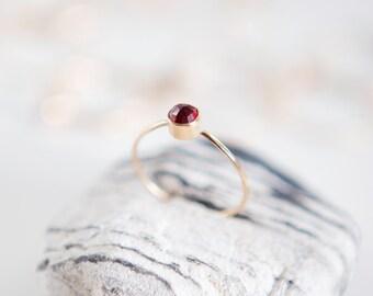 Garnet Ring | January Birthstone | 14K Gold Filled | Stacking Ring | Birthstone Ring | Gemstone Ring | Boho | Minimalist Ring | Gift For Her