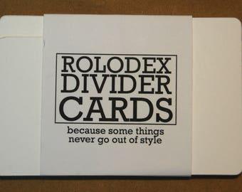 White Rolodex Divider Cards