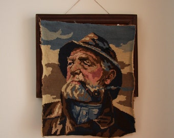 Pipe Smoker French Needlepoint Wool Tapestry