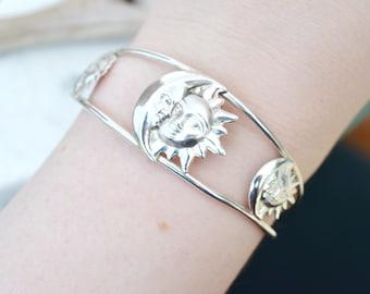 Sterling Silver Sun and Moon Cuff Bracelet, Sterling Sun Bracelet, Sterling Moon Bracelet, Man in the Moon Jewelry, Hippie Cuff Bracelet