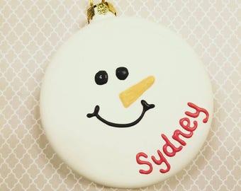 Personalized Snowman Ceramic Ornament