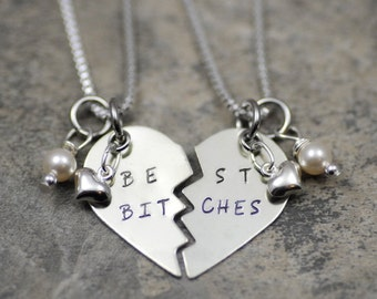 Best Bitches broken heart necklace Nickel-silver or brass gold & sterling filled puffy heart pendant hand stamped Personalized jewelry