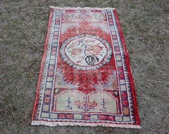 Small Size Nomadic Rug, 2.2 x 4.1 Feet, Turkoman Rug, Free Shipping, Bohemian Rug, Small Size Vintage Rug, Decorative Area Rug, No 1566
