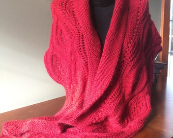 Wrap up in Red - Hand Knit Shawl - Wrap - Scarf - Cable - Lace - Women's Knitwear - Accessories - Winter Knitwear