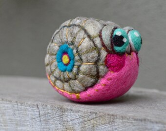 Needle Felted Happy Pink Snail  Ready to Ship