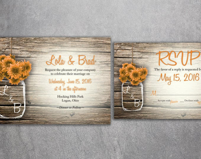 Country Wedding Invitation, Rustic Wedding Invitations, Sun Flowers, Mason Jar Wedding Invitations, Affordable, Barn Wood, Wedding Card