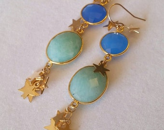 Sale! One of a kind! Stunning star spangled blue chalcedony & amazonite bezel set dangle earrings. Gold stars. Evening. Unique. Gemstone