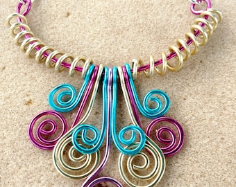 Colorful Aluminum Wire Jewelry Necklace