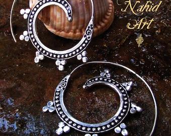 German silver hoops earrings