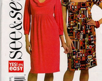 BUTTERICK SEE&SEW Pattern B5202 Empire Waist Dress Misses Sz 6-12 Uncut Factory Folded