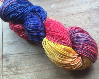 Macaw ~ Hand Dyed Blue Faced Leicester Nylon 4 Ply Sock Yarn Wool
