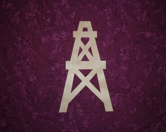 "Oil Well Shape Wood Cut Out Unfinished Wooden Derrick 12"" Inch Tall"