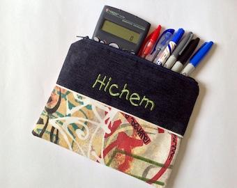 Personalised boy teen pencil case, personalised pouch, personalised teen boy gift, teen pencil case, boy pencil case, school supplies,