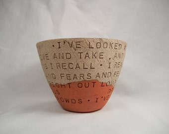 Love Actually - Joni Mitchell - Both Sides Now - Clay Bowl / Pottery Bowl / Ceramic Bowl
