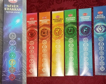 Seven chakra incense pack root , sacral, solar plexus, heart, throat, 3rd eye, crown. All 7 chakras in one box. 35 sticks in total