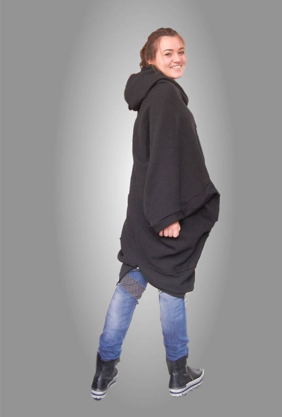 MAXI Black Oversized Cardigan, WARM Asymmetric Hoodie, Cape Loose Relaxed Fit Coat, Edgy Quilted Cotton Jacket, Plus Size Long Cardigan