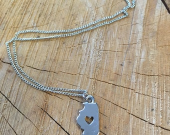 The Jade Necklace - Small Illinois Charm Necklace