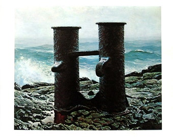 """Sea of Storms, Squid - Jamie Wyeth - 1971 Vintage Book Page - 2 Sided - Reproduction - Colored, Black and White - 9.5"""" x 10"""""""