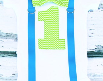 Baby Boy Chevron Lime Green and Blue bow tie Suspenders set, Bow tie Number 1, Boy First Birthday, Boy Cake Smash Outfit, Boy 1st Birthday,