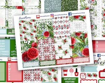Red Roses Sticker Kit 7 Sheets Erin Condren / Planner Stikers / Life planner / Happy Planner / Dream Planner