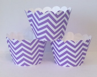 Purple Chevron Cupcake Wrappers, Party decorations, cupcake holders, party supplies, cupcake wraps, cupcake sleeves, paper goods