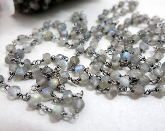 Labradorite Rosary Chain By The Foot, Beaded Gun Metal Black Wire 3.5-4mm Faceted Beads, Bulk Beaded Chain