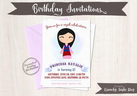 Princess Mulan Birthday Invitations,  Customizable, Princess, Girl Birthday Invitations, Mulan Birthday, Printable, Party, Fairy Tale 063