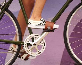Pedal Belt Bike Strap - Tan Leather
