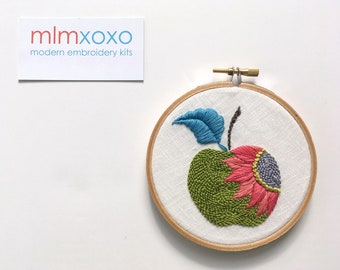 """Embroidery KIT by mlmxoxo.  Apple modern embroidery kit.  diy embroidery.  psychedelic.  fruit.  hand embroidery kit.  4"""" hoop art kit"""