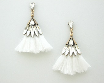 White Tassel Earrings with clear crystals  / Boho Earrings / Statement earrings