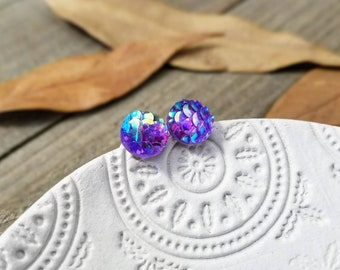 Mermaid scales - mermaid earrings - mermaid jewelry - mermaid studs - mermaid scale earrings - mermaid gifts - mermaid stud earrings
