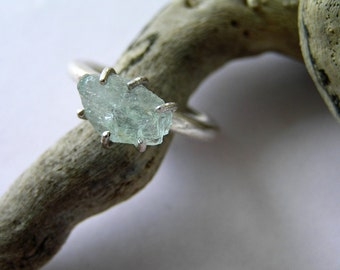 Ice blue natural aquamarine sterling silver ring. Greek jewelry handmade raw gemstone silver ring. Made to order.